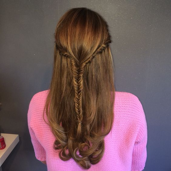 Fishtail half up half down with a bouncy blow dry