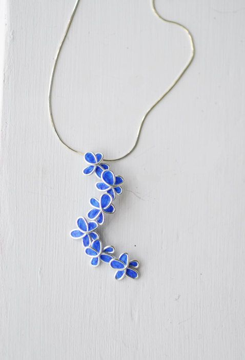 Royal Blue Forget Me Not bloem hanger ketting door TaylorsEclectic