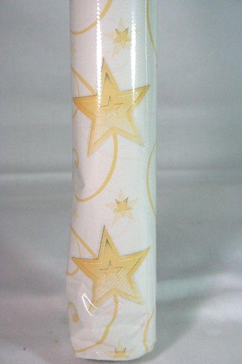Tovaglia di carta in rotolo bianca con stelle stampate color giallo-oro. Lunga 5 mt H.1,20 mt. Starshine white. Apparecchiare con colore ed eleganza con la praticità dell'Usa e Getta. Disponibile da C&C Creations Store