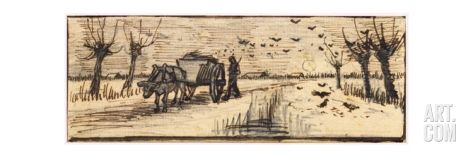 Ox-Cart in the Snow, from a Series of Four Drawings Representing the Four Seasons Giclee Print by Vincent van Gogh at Art.com
