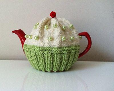 Tea Cosy/Cozy Knitted  Cupcake Style Teapot by KnitADeeDooDah