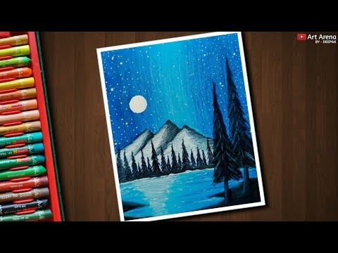 Night Sky Mountain Scenery Drawing For Beginners With Oil Pastels