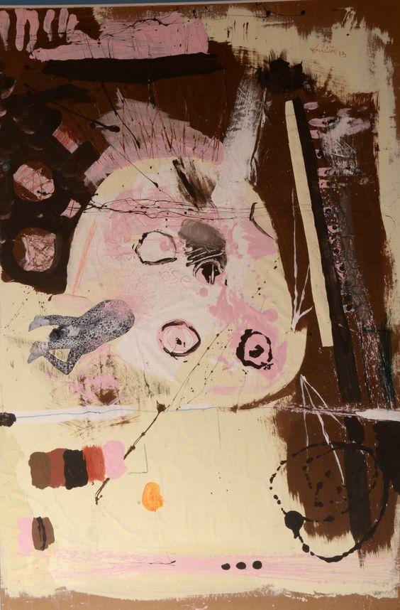 circulos               . acrilico y collage sobre papel 90cm x 130cm 2013