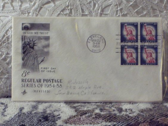http://ajunkeeshoppe.blogspot.com/  First Day Issue / Cover - Stamp - Regular Postage 1958 8c 8ozP725B4HP1200
