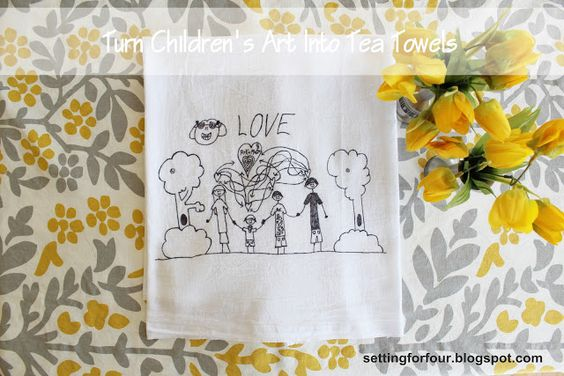DIY Turn Children's Art Into Tea Towels from Setting for Four #DIY #Tutorial #Gift #Sharpie #Childrens Art #Graphic #Label