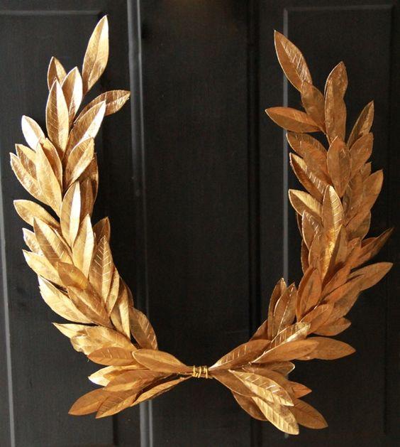 gold, laurel crest wreath, Christmas decorating