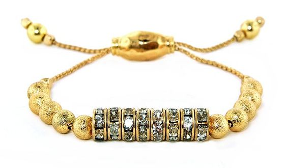 Metal Pull Cord Bracelet with Crystal Casting Charms, GOLD tone