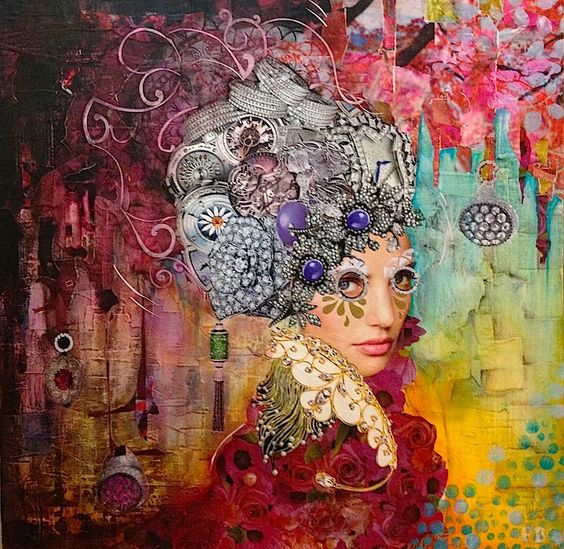 'Jemma' by Patrizia Biondi * Collage on Canvas * 61cm x 61cm *  $1,320 * www.art101.com.au * #art #brisbane #contemporary #fashion #jamesstbne #brisbane #mixedmedia: