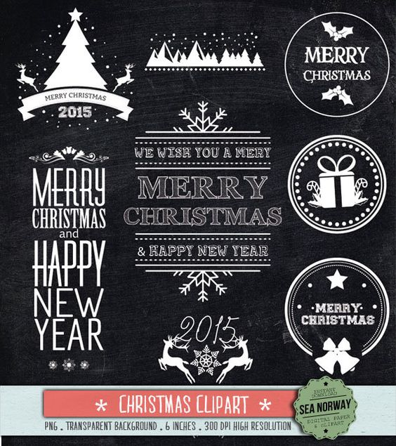 Chalkboard christmas christmas clipart elements pack by seanorway