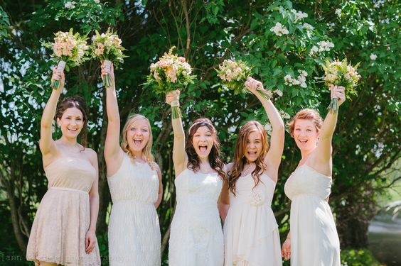 Bridesmaids pose | Rustic | Mismatched dresses | Fun pose | Rudolph, WI