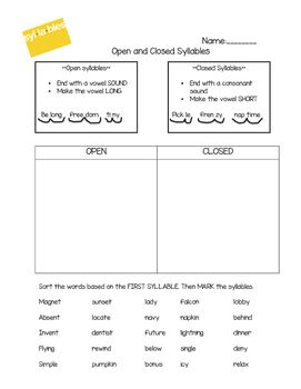Worksheets Open And Closed Syllables Worksheets 2nd Grade simple practice worksheet for teaching the difference between open and closed syllables students rewrite the