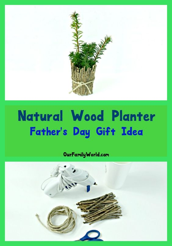 Looking for a cute homemade Father's Day gift idea that you won't cost you a fortune in supplies? Check out this adorable DIY Natural Wood Planter! It's a fun and easy dollar store craft that kids can make almost on their own, with just a little help from mom.