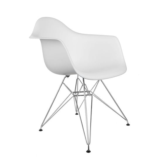 Set of 2 - Eames Style Molded Plastic Eiffel Armchair (DAR)