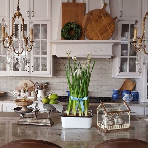 What do you do when your paperwhites start to droop? I used a blue ribbon to support mine! . . . #flowerstagram #flowers #kitchen #whitekitchen