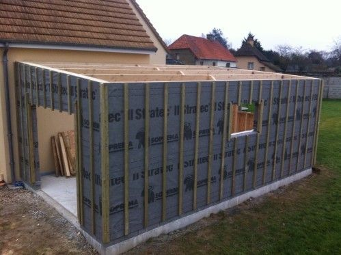 Construire Garage Bois Toit Plat Archives Abris Jardin Rraf Info In 2020 House Fence Design Container House Design House Design