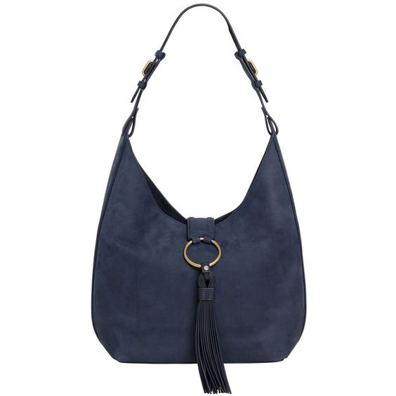 Tory Burch Women Vintage Nappa Leather Hobo Bag W/ Tassel (52,145 INR) ❤ liked on Polyvore featuring bags, handbags, shoulder bags, navy, shoulder strap handbags, vintage purses, vintage handbags, navy blue handbags and tory burch handbags