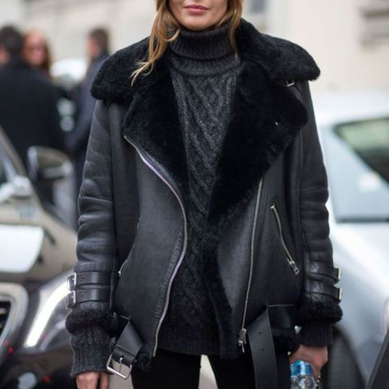 fur bike jacket black leather aviator jacket shearling faux leather bomber jacket womens. Get 10% OFF Plus Free Jewelry Gift any fur coat now! 24hr Shipped and Easy Return, just 1 week left for code WELCOME.