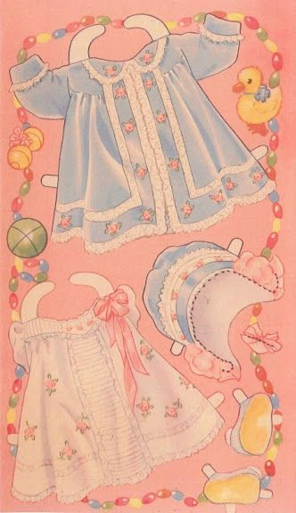 Vintage Baby clothes for paper doll 1