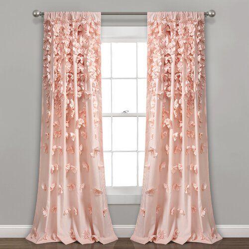 Clarkstown Floral Semi Sheer Rod Pocket Single Curtain Panel Panel Curtains Pink Curtains Lush Decor