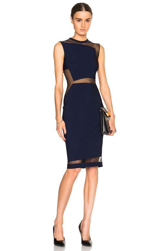 Mugler Mega Milano Mesh Insert Dress in Blue