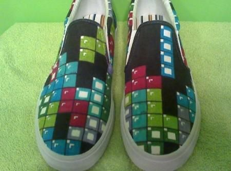 Tetris!!!: Funny Shoes, Custom Shoes, Shoes Ideas, Painted Shoes, Custom Video Game Shoes 1 Jpg, Amazing Shoes, Tetris Shoes
