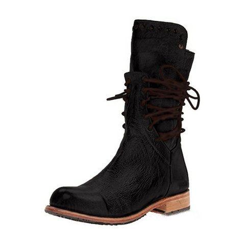 Details about  /Women Mid Calf Boots Combat Military Lace Up Boots Comfy Biker Flat Boots Shoes