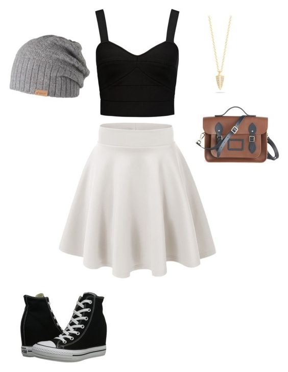 Skater girl by annmariemcknight on Polyvore featuring polyvore, fashion, style, Forever New, Converse, The Cambridge Satchel Company, Elizabeth and James and Barts