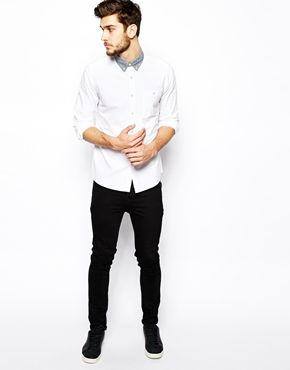 Enlarge ASOS Oxford Shirt In Long Sleeve With Contrast Collar