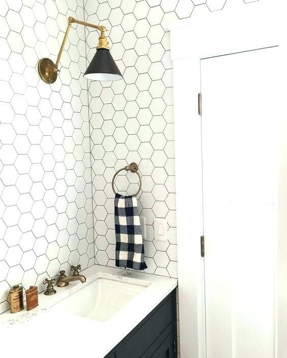 White Honeycomb Tile Feat White Hexagon Tile White Hexagonal Tiles With Black Grout And Black Cabinets W Bathroom Tile Designs Bathroom Decor Bathrooms Remodel