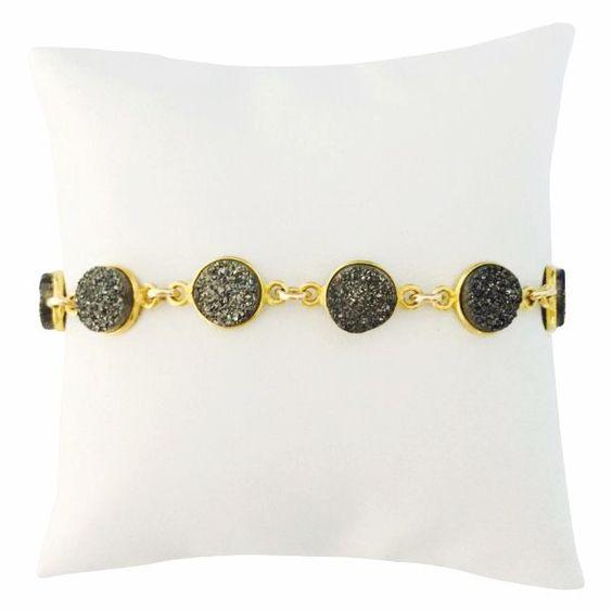 Chelsea Bracelet Meteorite Druzy in Gold – Wrenn Jewelry