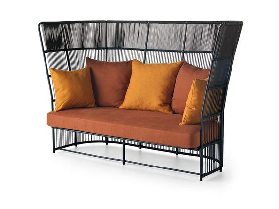 Elegante divano per esterni, con schienale alto intrecciato Tibidabo divano alto