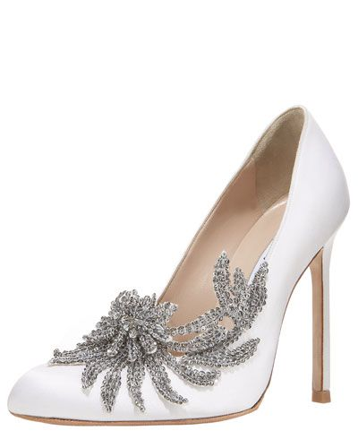 Marry Me | Handbags | Neiman Marcus | Manolo Blahnik Swan Embellished Satin Pump White Shoes