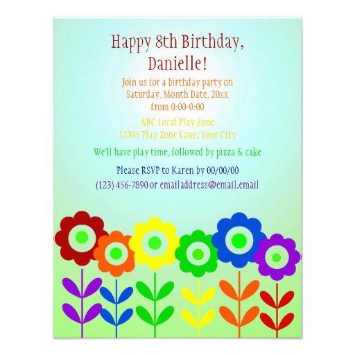 Garden Rainbow party invitation