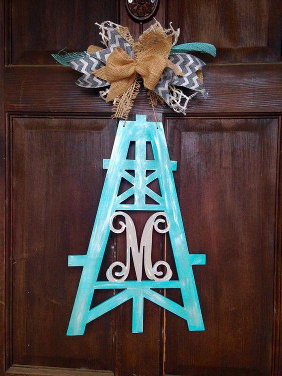Oil derrick/ Oil Field door hanger-custom colors by fleurdeinspire