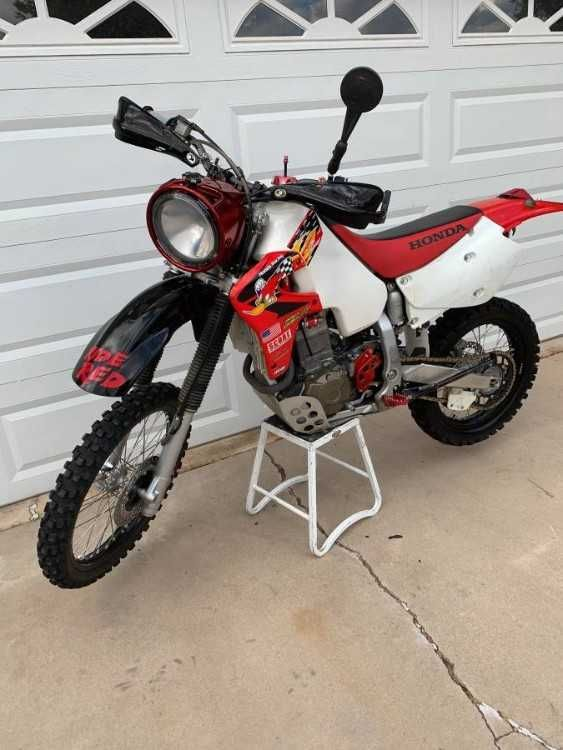 Up For Sale Is A 2003 Xr650r This Bike Is The Ultimate Dual Sport Weapon The History Behind This Bike Speaks For Itsel Dual Sport Adventure Bike Black Wheels