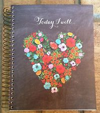 """Inspirational quotes journal- hearts, flowers, """"Today I will smile, love, laugh"""""""