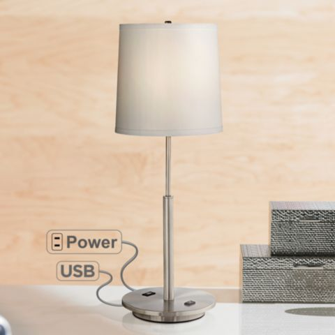 Martel Metal Table Lamp With Usb Port And 2 Prong Outlet 7j477 Lamps Plus Metal Table Lamps Modern Table Lamp Table Lamp