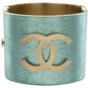 Chanel Turquoise Logo Cuff Bracelet