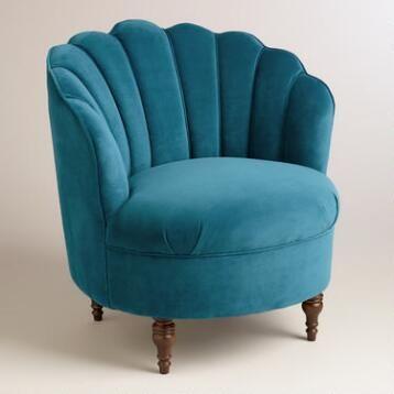 Peacock blue velvet chair
