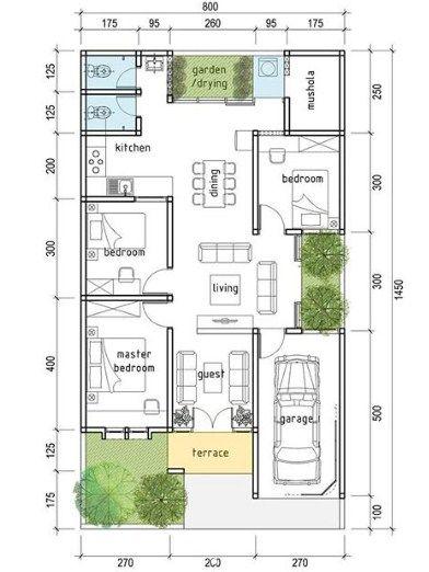 desain rumah ukuran 7x17 1 lantai 3 kamar