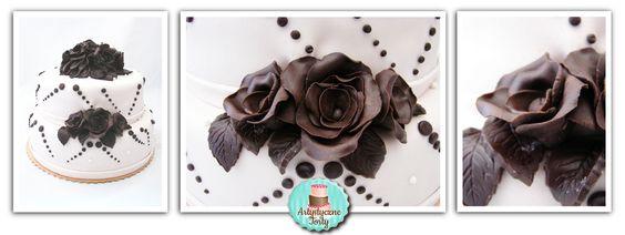 Tort weselny biało brązowy