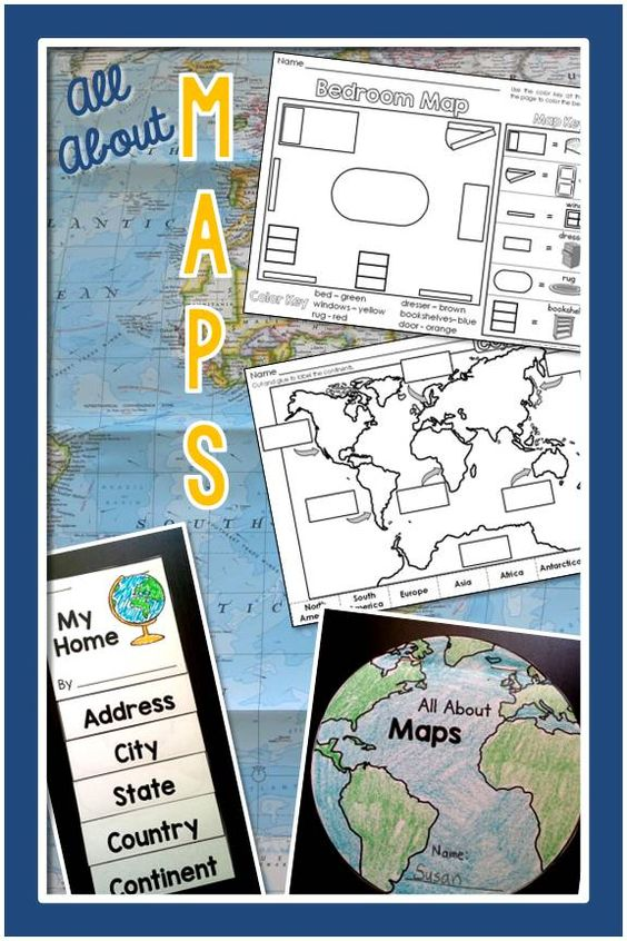 Maps– Geography for the Primary Grades: PowerPoint Slideshow and Printables for Kindergarten and First Grade, great to use with Me on the Map, $