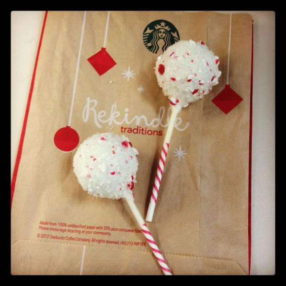 Peppermint Brownie Cake Pop from Starbucks, the one thing I look forward to at Starbucks, just as much as the cups turning red! Christmas is in the air!!!