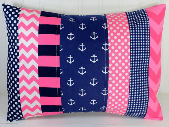 Navy And Pink Decorative Pillows: Nursery Pillow Cover, Throw Pillow Cover, Anchor Nursery