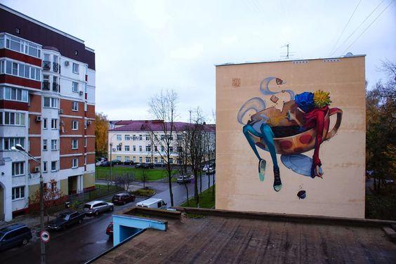 Street art in Gomel, Belarus by Hade #worldgraffitiart #streetart #streetartists #urbanartistsonline #urbanart #graffiti #freewalls