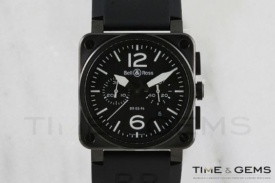 Men's Black DLC/PVD Coated Bell and Ross BR-03-94-Steel Chronograph Automatic Watch