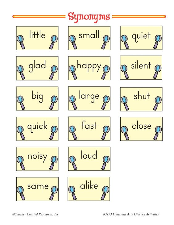 Worksheets Example Of Synonym an example of synonym flashcards to be used in activity introduce synonyms and antonyms