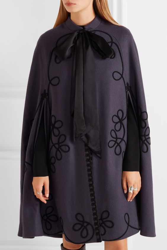 Temperley London | Voyage embroidered wool cape | NET-A-PORTER.COM