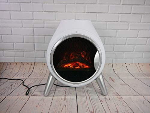 Garden Mileâ Portable 1 8kw White Retro Oval Log Burner Electric Fire Stove Free Standing Realistic Freestanding Electric Fireplace