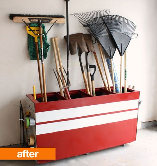 Storage from an old filing cabinet turned sideways. So clever.